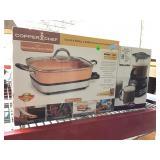 Copper Chef skillet, hot chocolate maker