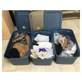 3 plastic bins full of assorted clothing incl.