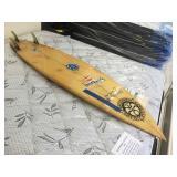 Kip Okamoto custom Surfing board, approx 19.5x84