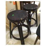 Pair of wicker seat stools