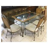 Metal dining table w/glass top and 4 chairs,