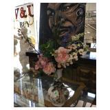 White ceramic vase w/prop plant (repair notice),