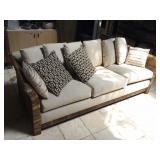 Wicker patio sofa, approx 6.5 ft long