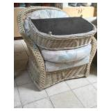 Large woven wood look chair with ottomans and