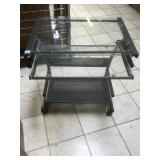 Metal and glass rolling desk.