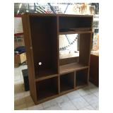 Wood display w/shelves, approx 16x60x72 inches
