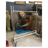 Pair of rolling clothing racks, approx 65x81