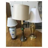 Set of 3 table top lamp, approx 33 inches tallest