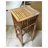 Wood side table, approx 14x14x33 inches