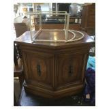 Vintage wooden side table storage cabinet.