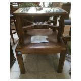 Wooden side tables. Larger is all wood , smaller