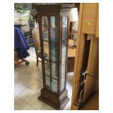 Skinny display rack w/glass shelves, approx