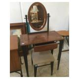 Mirrored Vanity with powder stool.