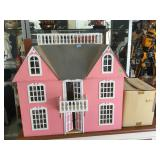 Wood pink doll house w/furniture, approx 32x15x30