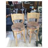 Pair of wood swivel bar stools