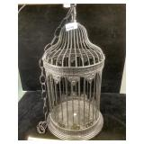 Bird cage candle holder with chain, black