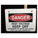 Vintage enamel on steel High Voltage KEEP OFF