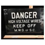 Vintage double sided enamel on steel Danger High