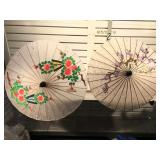 Pair of vintage paper and bamboo parasols made in
