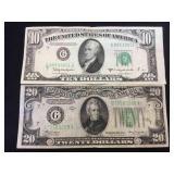 Vintage currency, 1934A $20 FRN & 1950D $10 FRN