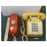 2 vintage cable phones by ITT and The Trimline