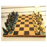 Hand carved and painted wooden chess set