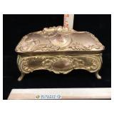 Antique Art Nuveau metal gilded dresser box - no