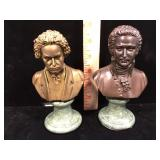 Pair of bronze busts on marble bases Mozart and