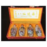 Set of 4 Asian reverse painted snuff bottles in