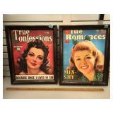 Pair of framed giclee magazine cover prints art