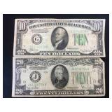 1934 D $20 FRN & 1934 A $10 FRN