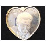1 Troy  oz. .999 Silver Heart w/ Elvis , 1977