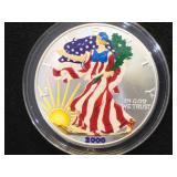 2000 Colorized American Silver Eagle w/case