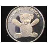 1 Troy Oz. .999 Fine Silver Teddy Bear Token