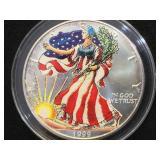 1999 Colorized American Silver Eagle, w/ case