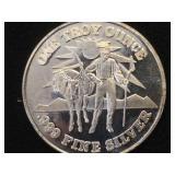 1- oz. Troy .999 Fine Silver Mule & Prospector