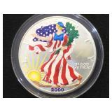 2000 Colorized American Silver Eagle, W/case