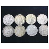 8- MORGAN SILVER DOLLARS, various years, 8 x $