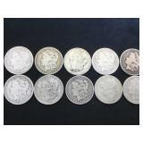 10 - MORGAN SILVER DOLLARS, various years, 10 x $
