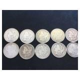 10- MORGAN SILVER DOLLARS,various years, 10 x $