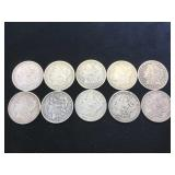 10- MORGAN SILVER DOLLARS, various years, 10 x $