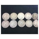 10 MORGAN SILVER DOLLARS, various years, 10 x $