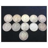 11- MORGAN SILVER DOLLARS, various years, 11 x $
