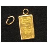 1g Gold Bar (credit Suisse)w/ .3g bezels