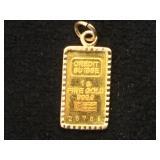 1g Gold bar(credit Suisse) w/ 14k bezel