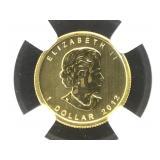 1/20 oz. Gold 2012 NGC MS69 Canada Maple Leaf, $1