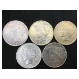 5- SILVER PEACE DOLLARS, various years, 5 x $