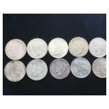 10- SILVER PEACE DOLLARS, various years, 10 x $