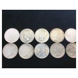 10- MORGAN & PEACE SILVER DOLLARS, various years,