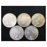 5- SILVER PEACE DOLLARS, 1922 & 1923, 5 x $